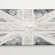 Joanna Rajkowska<br />British Flag<br />2018<br />Powdered analgesic, acrylic paint and PVA glue on linen, mdf board<br />150x75cm