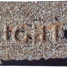 Joanna Rajkowska<br />Might<br />2016<br />powdered analgesic and PVA glue on paper<br />14x7.5cm
