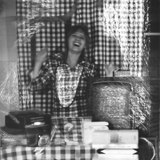 Anna Kutera<br />from the cycle Stimulated Situations, It's in squares<br />1980<br />black and white photograph<br />100x50.5cm
