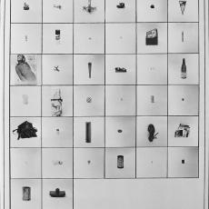 Anna Kutera<br />The Inventory-c<br />1980<br />black and white board<br />140x70cm