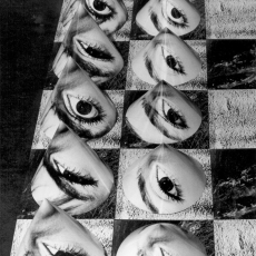 Anna Kutera<br />On the fire and concrete - detail<br />1977<br />black and white photo installation<br />150x150cm