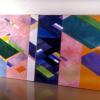"Arlene Slavin <em>Sumumo Diptych</em> , 1974/75 Acrylic on canvas 150 x 420 cm (60"" x 165"")"