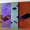 "Arlene Slavin <em>Fusuma Diptych</em>, 1974/75 Acrylic on canvas 150 x 365 cm (60"" x 144"")"