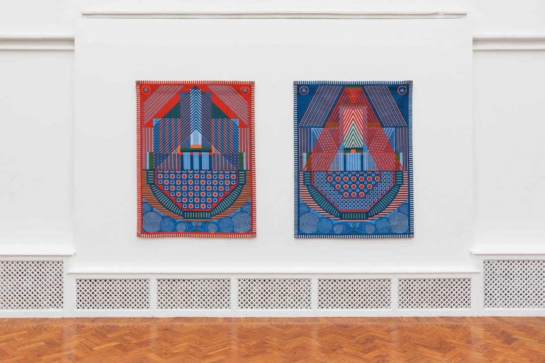 Yelena Popova, Keepsafe I and II , Jacquard woven tapestries, 2019.  Holden Gallery, Manchester School of Art, UK 7 February – 27 March 2020