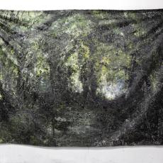 David Raffini, Capharnaüm, soul bois, 2012, painting on canvas, steel tube.