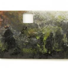 David Raffini, ça se passe comme ça, 2013, paint, tape, hole on aluminum / pvc sandwich, 120 x 210 cm