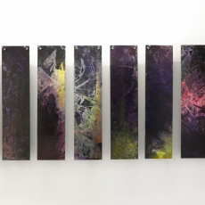 David Raffini, Éprouvette, 2016, paints on plywood, eyelets, nails, 20 x 100 cm