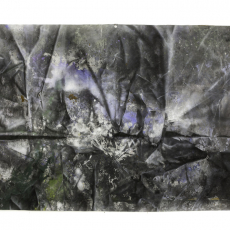David Raffini, Land Escape 4, 2014, painting, carnations on canvas, 175 x 280 cm