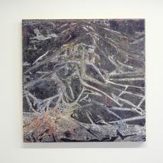 David Raffini, Subduction, 2016, paints on plywood, 100 x 100 cm