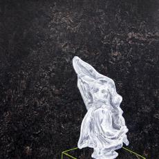 Evy Jokhova, Dark Bistre-Victory, 2014, Oil on linoleum panel