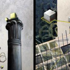 Evy Jokhova, Pillar (diptych), 2014, Oil on two linoleum flooring panels