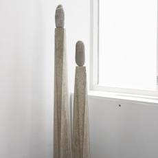 Evy Jokhova, 'Totem X', 2018, Concrete, steel, stone, 180 x 20 x 20 cm approx.; 'Totem XI', 2018, Concrete, steel, stone, 140 x 20 x 20 cm,  photo by Andy Keate