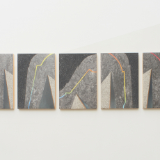 Evy Jokhova, 'Sketch for passing through IV', 2016, Oil and stone effect on linoleum on panels, Installation on painted wall: 120 x 120 cm, 27.5 x 19 cm each,  photo by Andy Keate