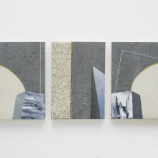 Evy Jokhova, 'Sketch for passing through X',  2016, triptych, Oil, acrylic polymer and stone effect on linoleum, on panel, 27.5 x 60 cm,  photo by Andy Keate