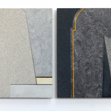 Evy Jokhova, Sketch for Passing Through, 2015, Oil and stone effect paint on linoleum floor panels, each panel is 19 x 27.5cm