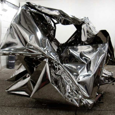 Florian Pugnaire, Shadow Boxing, 2010. Sculpture in stainless steel, chains approx., 125 x 200 x 220 cm