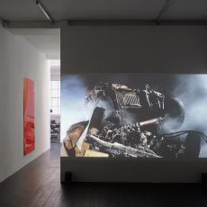 Installation view: 'Show Me' at l'étrangère, Florian Pugnaire + David Raffini. Film: Energie Sombre (Dark Energy), 2012 Video HD 15 min