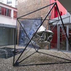 Florian Pugnaire, Hypercube, 2014. Stainless steel mirror, steel, hoists, 360 x 360 x 300 cm