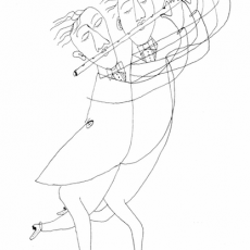 Double-flute (third version), c.1955, pen and ink on paper, 15 x 11.5 cm
