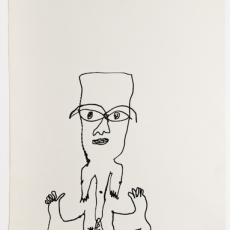 Man With Spare Feet, c.1972, ink on paper, 52 x 33 cm