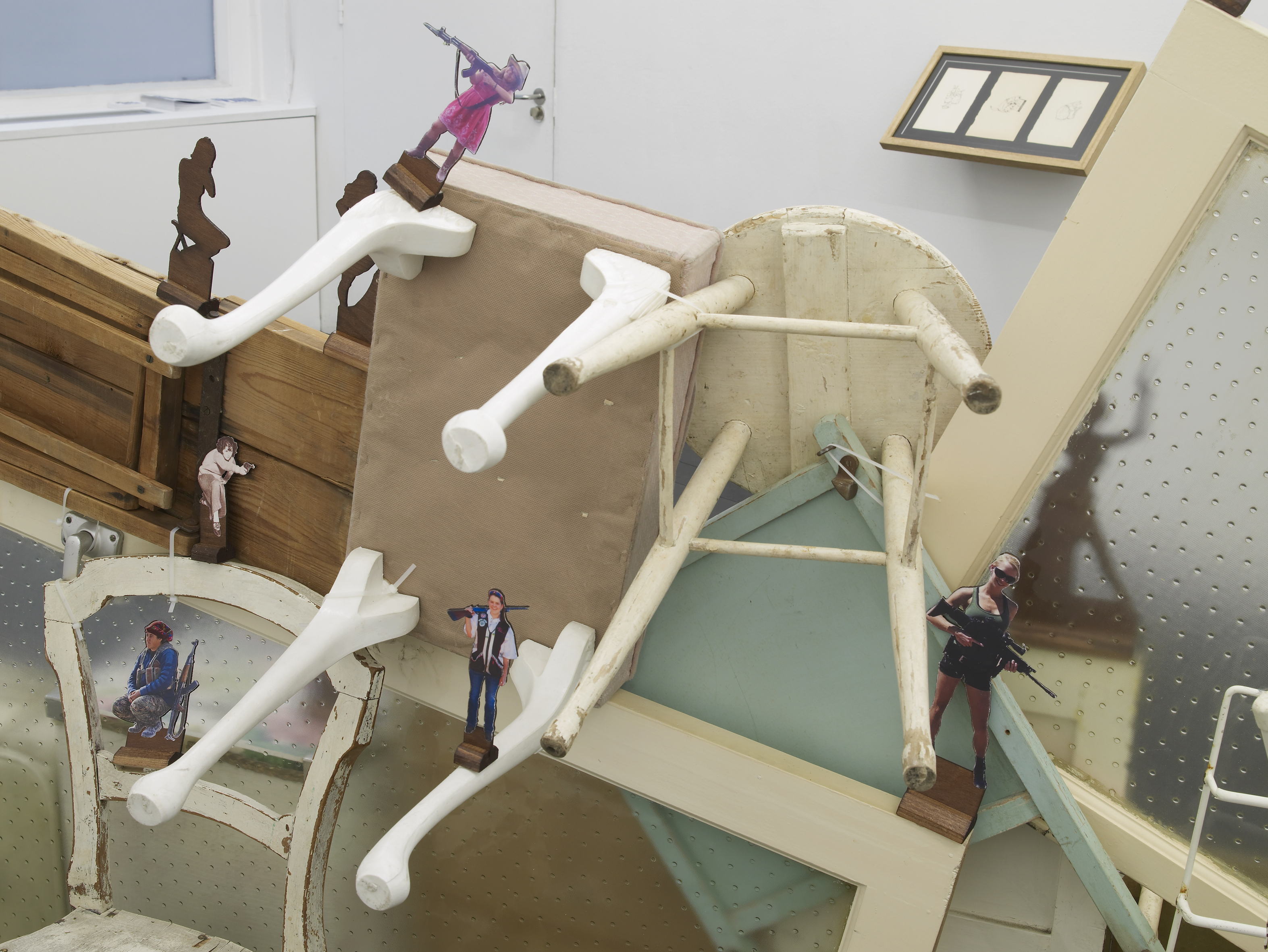 Paula Chambers, Domestic Front, 2018, site-specific installation at gallery l'étrangère, variable size