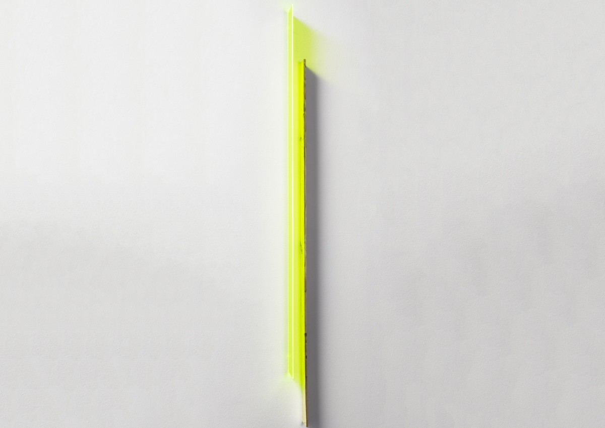 Jyll Bradley, Green Light (zips), 2014. Wall relief (Edition of 10) Flourescent Plexiglas, sawn vintage fir hop pole, drill bits. 165.1cm x 10cm