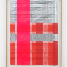Jyll Bradley, Notes (1), 2016, spray paintings on folded 'tracedown' carbon paper float mounted in bespoke ash frame, 89 x 69 cm (framed), Unique