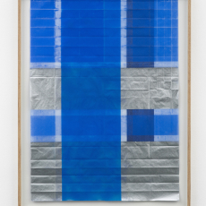 Jyll Bradley, Notes (3), 2016, spray paintings on folded 'tracedown' carbon paper float mounted in bespoke ash frame, 89 x 69 cm (framed), Unique