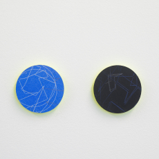 Jyll Bradley, Currency, 2016, Drawings on black and light blue carbon papers mounted on green fluorescent edge-lit Plexiglas. Part of a multi-part work, each 8 cm diameter, Unique