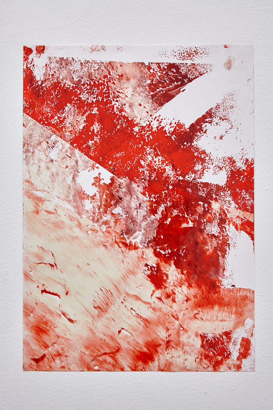 Katharina Marszewski, Lacquer piece (from the Red series), 2015. Paper, lacquer, pigment, 30 x 42 cm