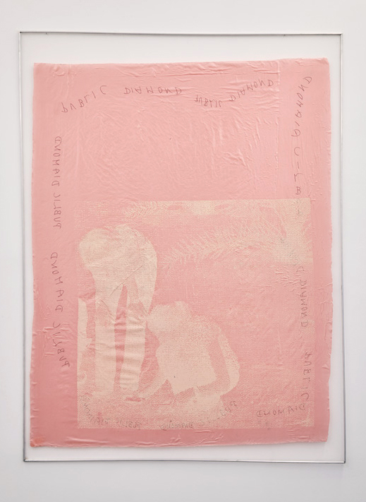 Katharina Marszewski, Screen in Dirty Desert Rosé, 2015. Screen print on fabric, glue, netting, aluminium, 121 x 160 cm
