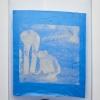 Katharine Marszewski, Screen in Mechanical Bluish, 2015, Screen print on fabric, glue, netting, aluminium, 121 x 160 cm