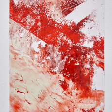 Katharine Marszewski, Lacquer piece (from the Red series), 2015, Paper, lacquer, pigment, 30 x 42 cm