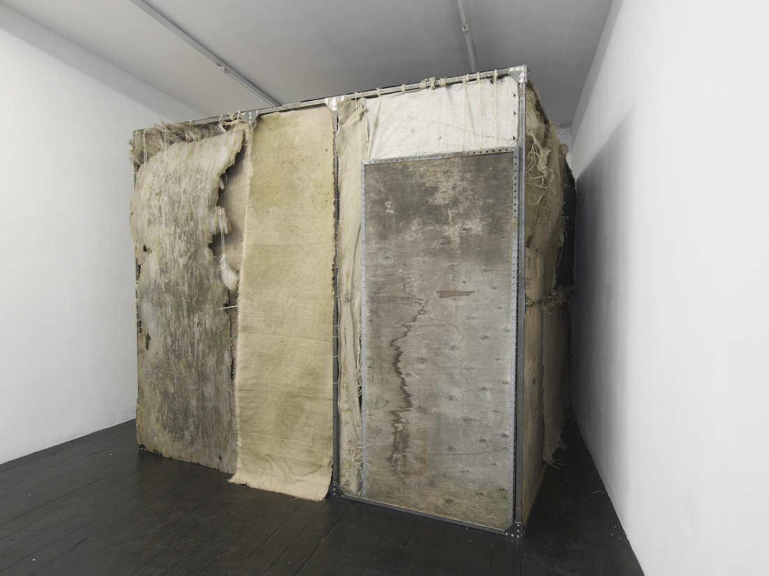 Krzysztof Gil, 'Tajsa',  installation view, Iron, timber, canvas, string, ink, chalk, soil, sound system, light,  250  x 300 x 300 cm