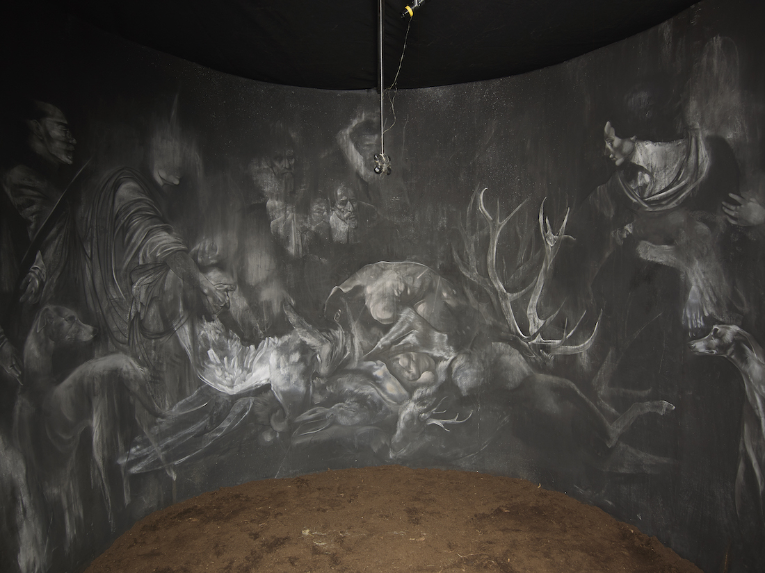 Krzysztof Gil, 'Tajsa', excerpt of the installation, Iron, timber, canvas, string, ink, chalk, soil, sound system, light,  250  x 300 x 300 cm