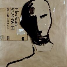 Marek Szczęsny, Emigrant #1, 2010, Acrylic on paper, cardboard, 149 x 120 cm