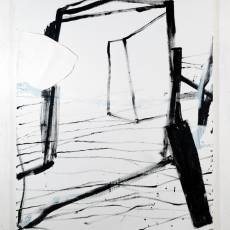 Marek Szczęsny, Passage, 2017, acrylic on canvas, metal, paper, 160x130cm