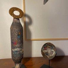Melania Toma<br />Votive Shapes<br />2021<br />Palladium, alluminium, copper, gold, glazed terracotta<br />59x11cm and 24x12cm