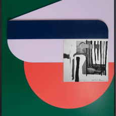 Filip Berendt<br />Monomyth II B<br />2018<br />Archival pigment print on dibond, acrylic paint, MDF<br />70 x 50 cm