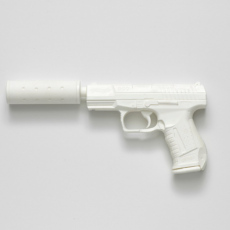 Joanna Rajkowska<br />Walther P99 with Silencer (from the series Painkillers II)<br />2015<br />Powdered analgesic, polyurethane resin, life-size cast<br />30 x 13 x 3 cm