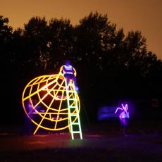 Shaun C. Badham, Site specific installation view of 'Moon Probe', 2016, metal, UV neon paint
