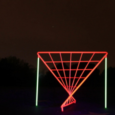 Shaun C. Badham, Site specific installation view of 'Spider's Web', 2016, metal, UV neon paint