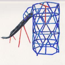 Shaun C. Badham, 'Zig Zag Tower and Slide drawing', 2014, 230gsm , Acid free paper, 27 x 19.5cm