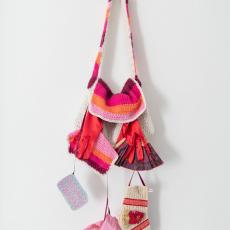 Su Richardson<br />Hot Flush Handbag with: Fan, Towel, Re-usable pad, HRT pills, Mask<br />2021<br />Crochet<br />20x30cm
