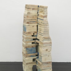Tatiana Wolska<br />Palette Sculpture<br />reclaimed timber, screws<br />86 x 33 x 29 cm, TWSC17 4