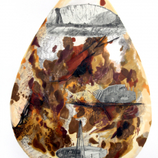 Joanna Rajkowska<br />Egg-Earth (Communication Cable)<br />2019<br />Collage on hand made paper<br />50x70cm