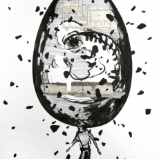 Joanna Rajkowska<br />Egg-Earth (Factory Plan)<br />2019<br />Collage on hand made paper<br />50x70cm