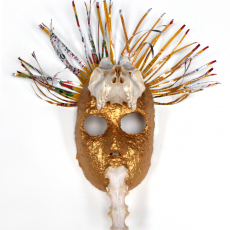 Joanna Rajkowska<br />Mask with Roe Deer's Skull and Spine<br />2019<br />Papier-mâché, fox skull, beer can<br />43 x 39 x 22 cm (approx.)