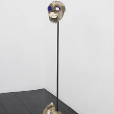 Joanna Rajkowska<br />Mask with Badger's Skull and Roe Deer's Vertebra<br />2019<br />Papier-mâché, badger's skull, roe deer's vertebra, animal fur, wire, acrylic paint<br />26 x 19.5 x 17.3 cm (approx.)<br />Shoes with Fox's Skull<br />2019<br />Fox skull, animal fur, leather<br />34 x 12 x 15 cm (approx. each)<br />installation view: The Failure of Mankind, l'etrangere