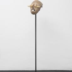 Joanna Rajkowska<br />Mask with Hare Skull<br />2019<br />Papier-mâché, hares' skulls, animal fur, acrylic paint<br />25.5 x 16 x 14 cm (approx.)